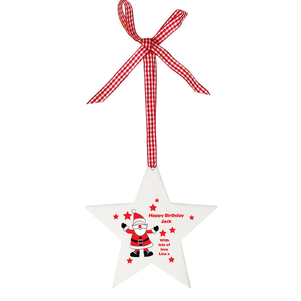Personalised Christmas Santa Design Wooden Star Shaped Decoration