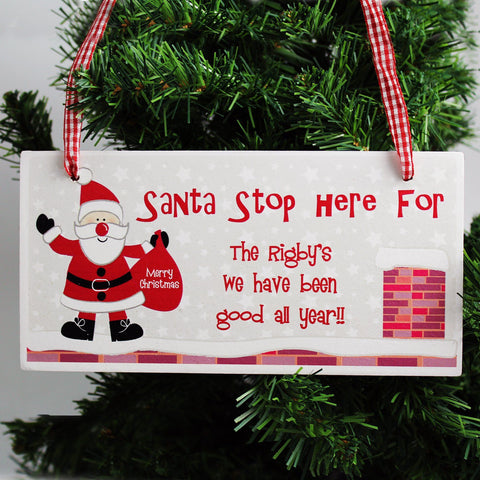 Personalised Rooftop Santa- Stop Here Wooden Christmas Sign