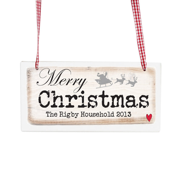 Personalised Merry Christmas Wooden Sign