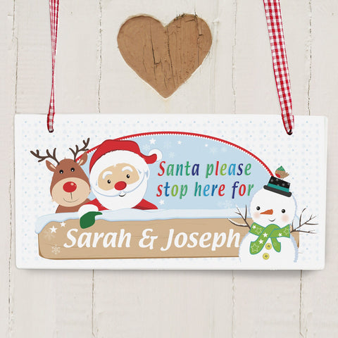 Personalised Santa & Friends Stop Here Wooden Sign