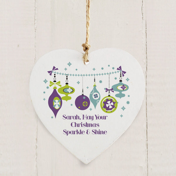 Personalised Retro Bauble Wooden Heart Decoration
