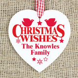 Personalised Christmas Wishes Wooden Heart Decoration
