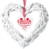 Personalised Christmas Wishes Wicker Heart Decoration