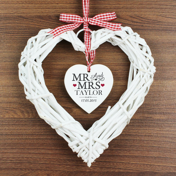 Personalised Mr & Mrs Wicker Heart Decoration