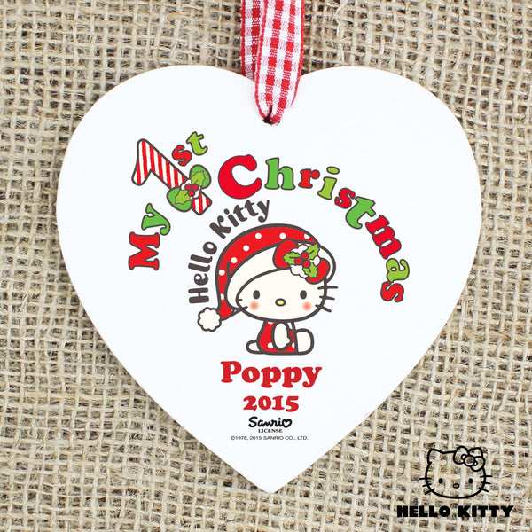 Personalised Hello Kitty My 1st Christmas Wooden Heart Decoration