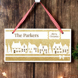 Personalised Festive Village Wooden Sign