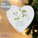 Personalised The Snowman and the Snowdog My 1st Christmas Heart Decoration