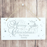 Personalised Silver Reindeer Wooden Sign