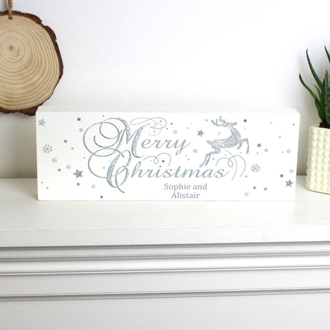 Personalised Silver Reindeer Mantel Block
