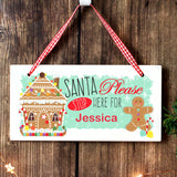 Personalised Gingerbread House Santa Stop Here Wooden Sign
