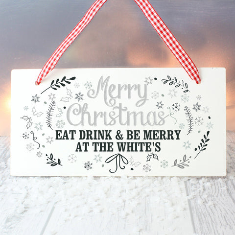 Personalised Christmas Frost Wooden Sign