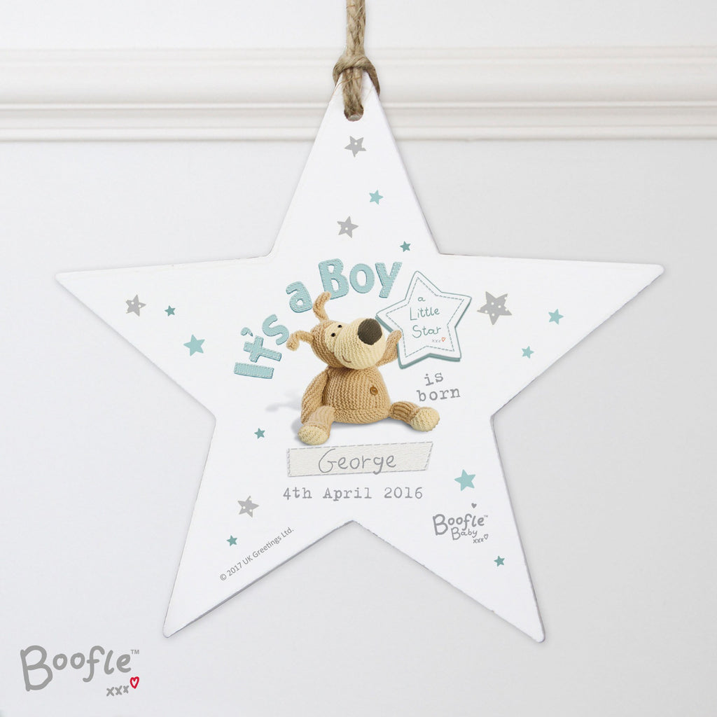 Personalised boofle its a boy wooden star decoration personalised personalised boofle its a boy wooden star decoration m4hsunfo