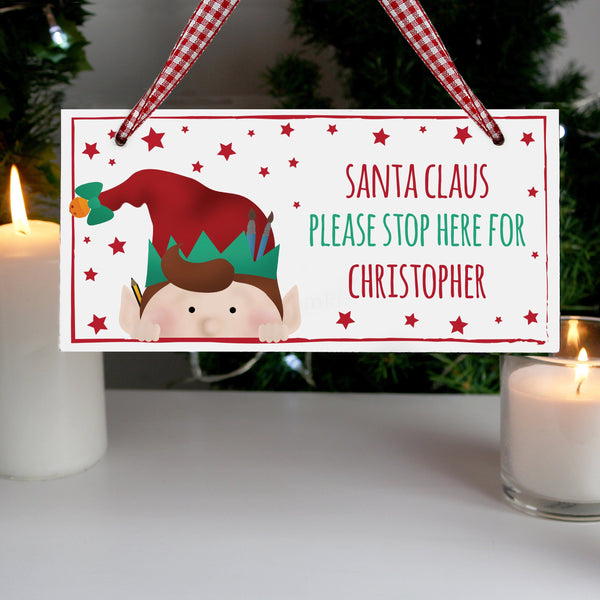 Personalised Christmas Elf Wooden Sign