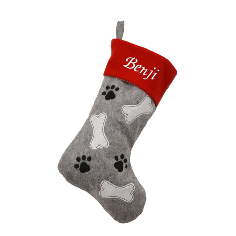 Personalised Embroidered Pet Christmas Stocking in Grey and Red