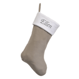 Luxury Personalised Embroidered White and Silver Christmas Stocking
