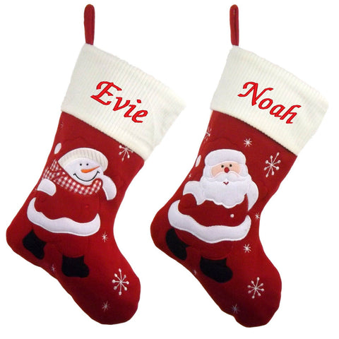 Luxury Deluxe Personalised Embroidered Christmas Ivory Santa / Snowman Xmas Stocking