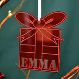 Personalised Red Acrylic Christmas Present Shape Name
