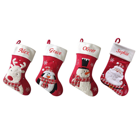 Luxury Deluxe Personalised Embroidered Christmas Fluffy Santa / Snowman / Penguin / Reindeer