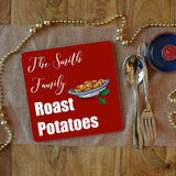 a personalised roast potatoes placemat