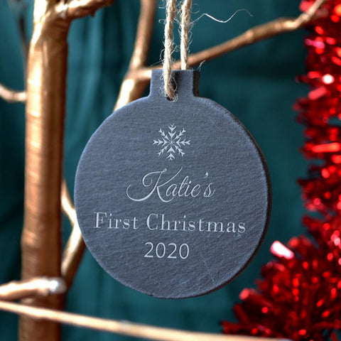 Personalised Slate Baby's First Christmas Snowflake Ornament