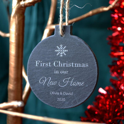 Personalised First Christmas in our New Home Slate Bauble