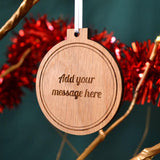 Luxury Personalised Christmas Bauble Solid Oak Any Message