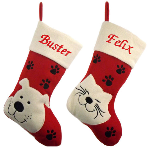 Luxury Deluxe Personalised Embroidered Christmas Pet Dog / Cat Xmas Stocking