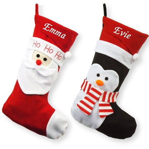 Luxury Personalised Embroidered Christmas 52cm Santa / Penguin Xmas Stocking - Personalised Christmas