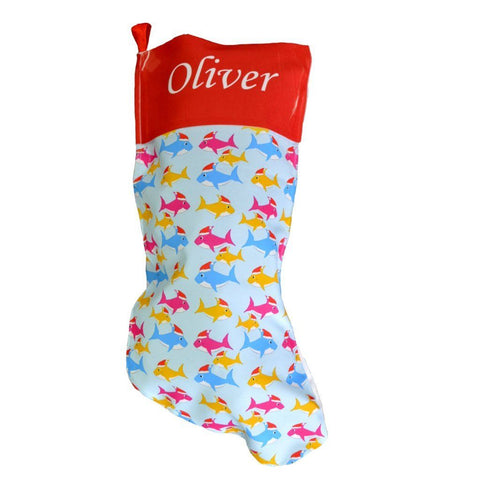 A personalised shark Christmas stocking