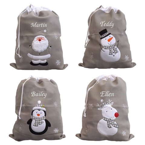Personalised Luxury Deluxe Embroidered Silver Santa Sack - Santa, Snowman, Penguin & Reindeer