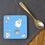 A personalised blue star baker coaster