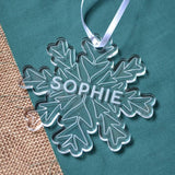 Personalised White Snowflake Christmas Decoration Clear Acrylic Name