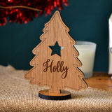 Personalised Mini Christmas Tree Ornaments Free Standing Acrylic or Oak