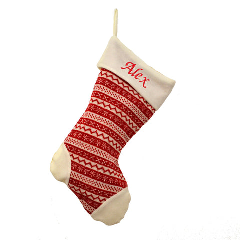 Luxury Personalised Embroidered Christmas Knitted Red/Cream Xmas Stocking