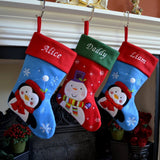 Luxury Personalised Embroidered Christmas Santa / Penguin / Snowman / Reindeer Xmas Stocking