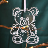 Personalised Teddy Bear Christmas Bauble Name