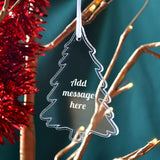 Personalised Engraved Acrylic Tree Shape Christmas Bauble Message