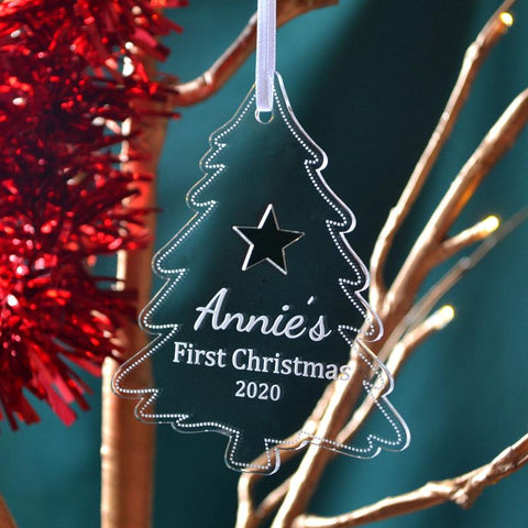 Personalised Baby's First Christmas Bauble Clear Acrylic Tree