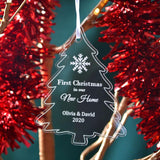 Personalised Green or White First Christmas in our New Home Bauble