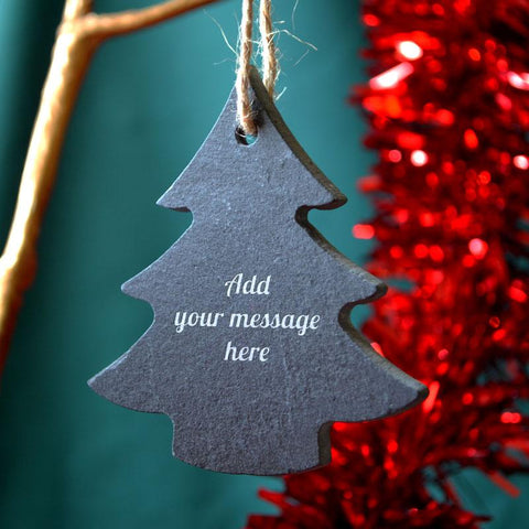 Personalised Engraved Slate Christmas Tree Bauble Any Message