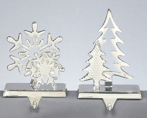 Weighted Solid Cast Metal Stocking Mantel Holder - Snowflake & Tree