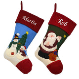 2 personalised Christmas stockings, one featuring Father Christmas on a green background and one featuring 2 snowmen on a blue background. Both stockings have names embroidered in white at the top.