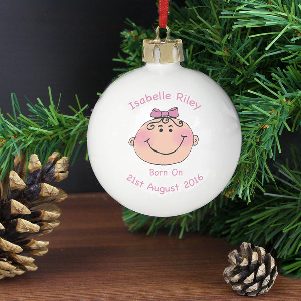 Personalised Baby Girl Keepsake Bauble