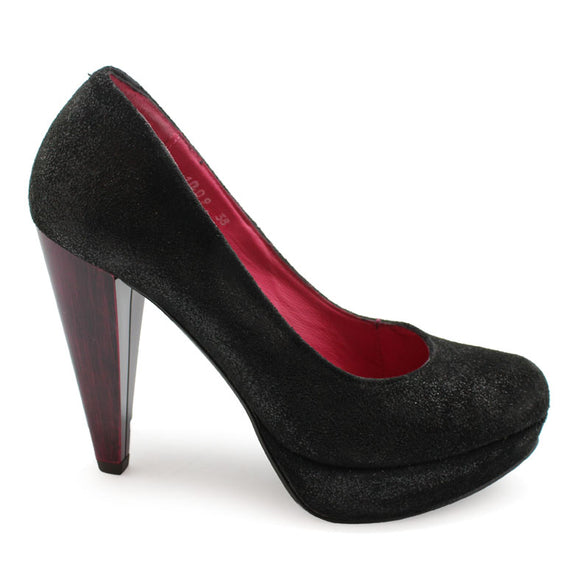 Bizz - Black with dark fuchsia painted heel