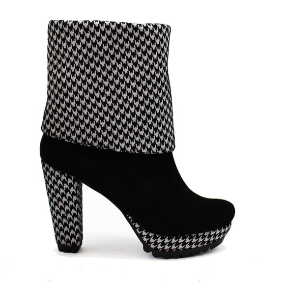Champignon - Black Suede - Houndstooth