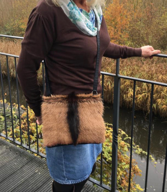 Feathers small BROWN- fur handbag- exclusive online
