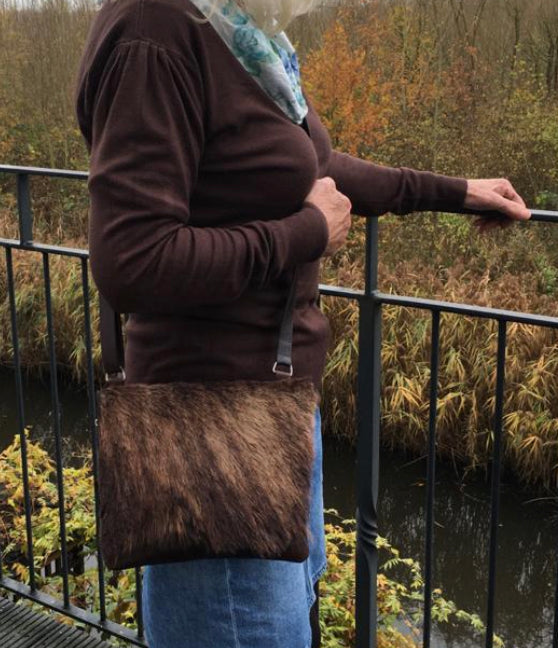 Fur-small BROWN- fur handbag- exclusive online