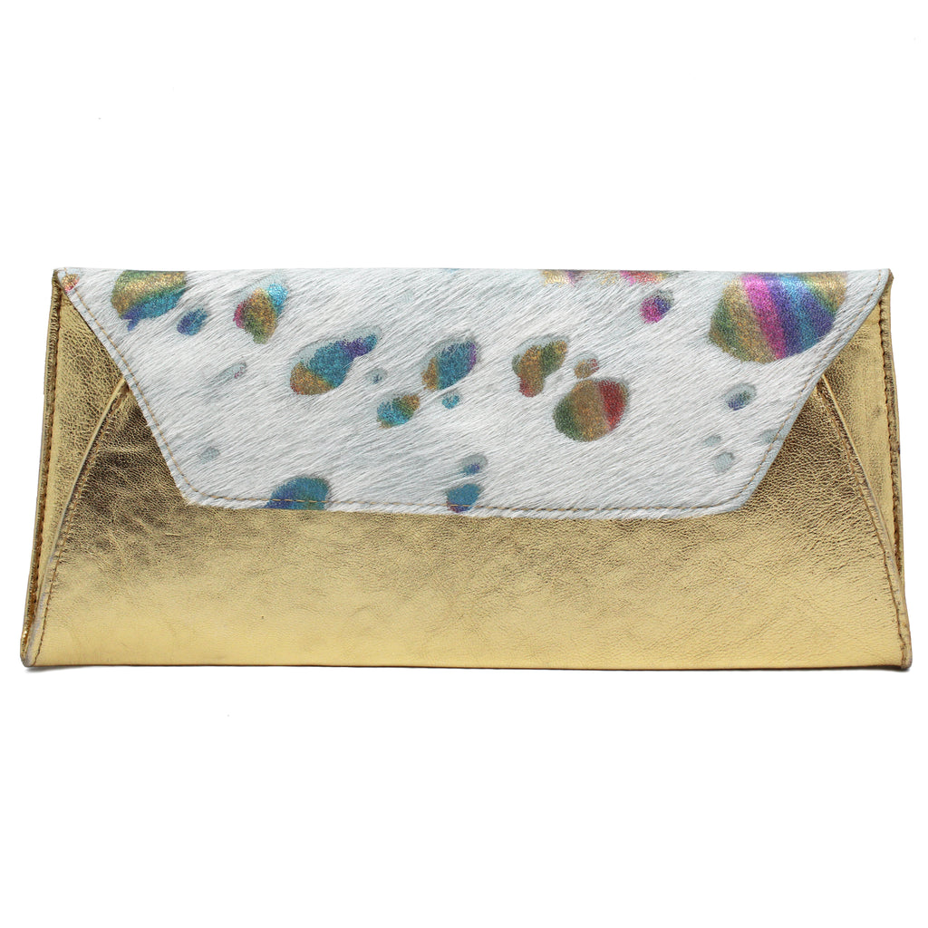 Fold Clutch - Gold White Rainbow Unicorn