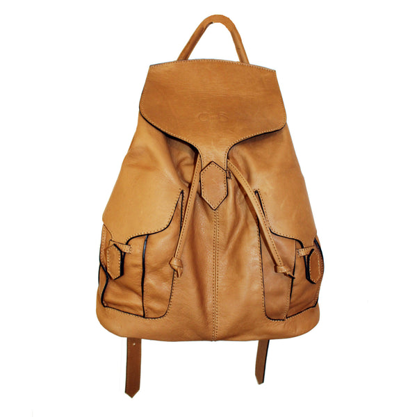 Camel colour Leather Rucksack, with adjustable straps. Easy to clean. Versatile and practical
