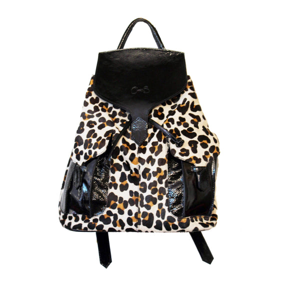 Leopard print Leather Rucksack, with adjustable straps. Easy to clean. Made with cow hide.